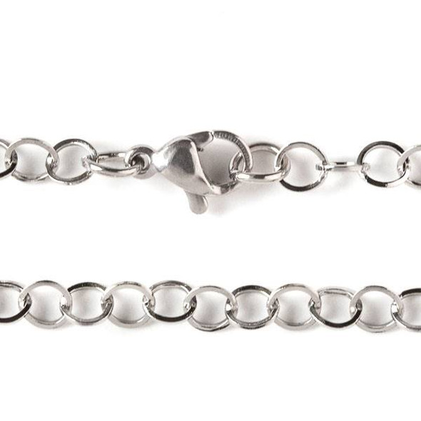 Silver Stainless Steel 4mm Cable Chain Necklace - 24 inch, SS10s-24