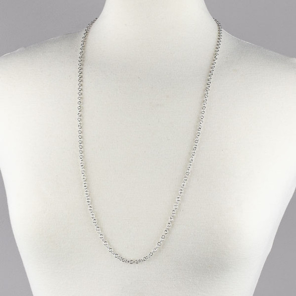 Silver Stainless Steel 4mm Cable Chain Necklace - 32 inch, SS10s-32