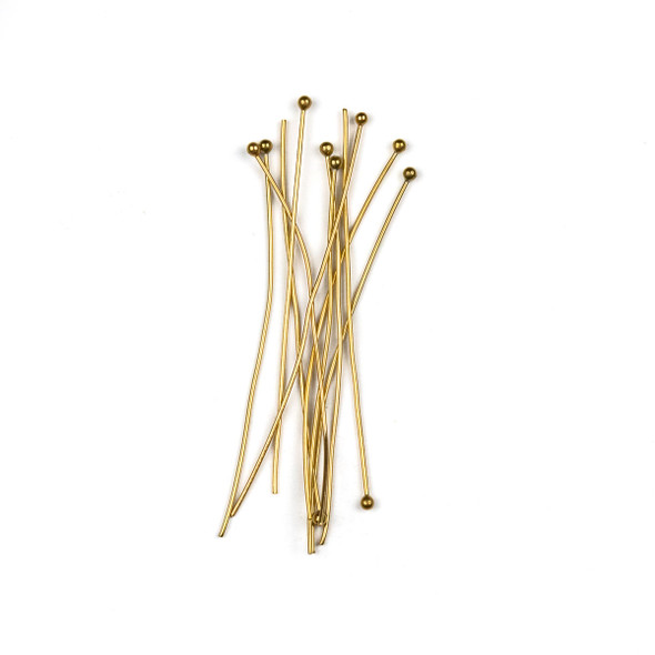 Gold Plated Stainless Steel 2 inch, 22 gauge Headpins/Ballpins with 2mm Ball - 10 per bag