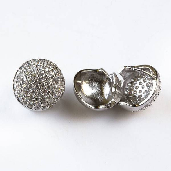 Sterling Silver 14mm Snap On Coin Earrings for Pierced Ears with Cubic Zirconia Crystals