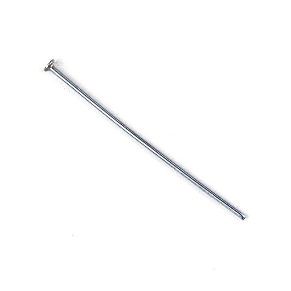 Rhodium Plated Stainless Steel 1 inch, 22 gauge Headpins - 100 per bag