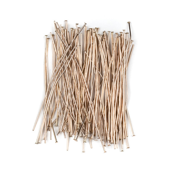 Rose Gold Plated Stainless Steel 2 inch, 22 gauge Headpins - 100 per bag