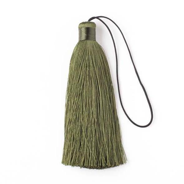 "Kale Green 4"" Silk Tassel - 1 per bag"