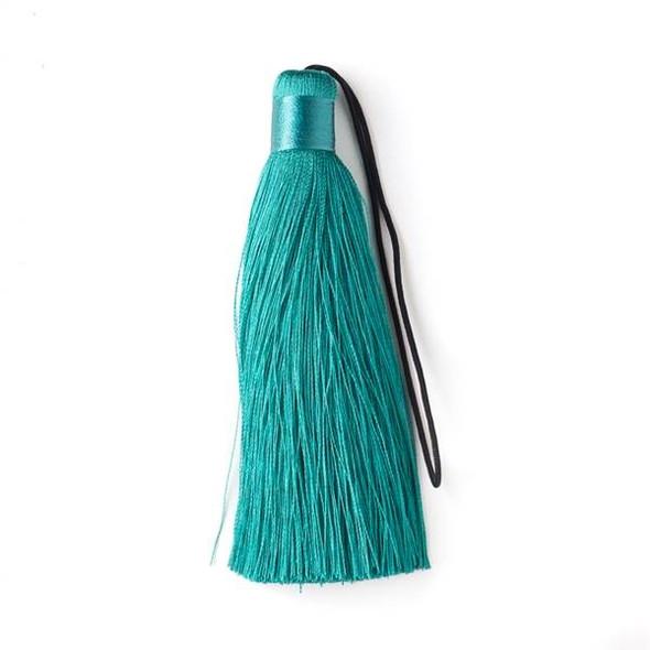 """Peacock Green 4"""" Silk Tassel - 1 per bag"""