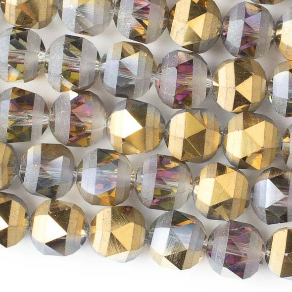 Crystal Orbits Matte 10mm Faceted Round Beads Smoke AB and Gold - Approx. 15.5 inch strand