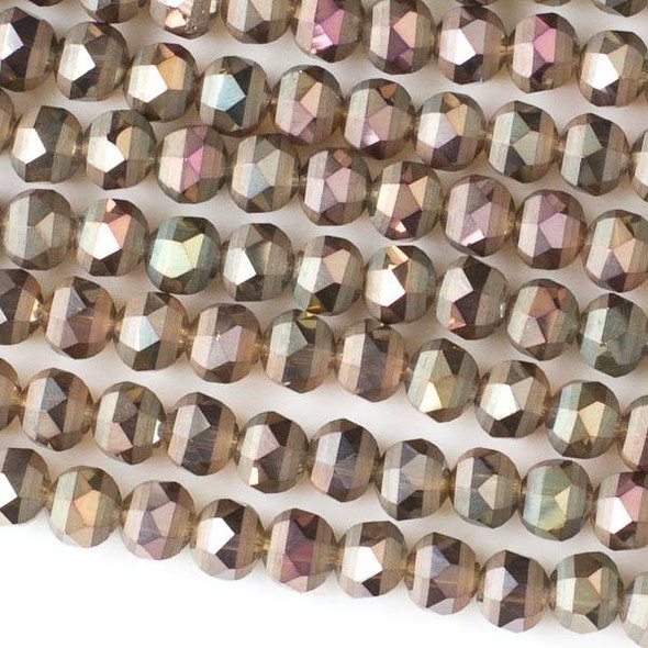 Crystal Orbits Matte 6mm Faceted Round Beads Bronze AB - Approx. 15.5 inch strand