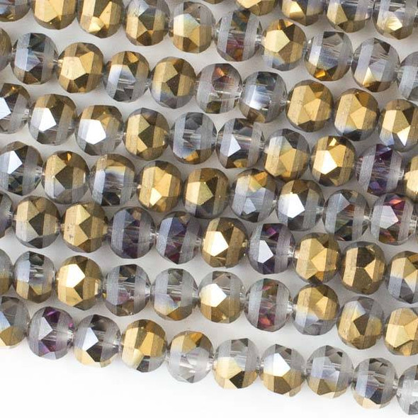 Crystal Orbits Matte 6mm Faceted Round Beads Smoke AB and Gold - Approx. 15.5 inch strand