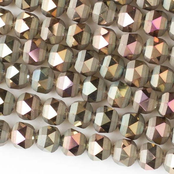 Crystal Orbits Matte 8mm Faceted Round Beads Bronze AB - Approx. 15.5 inch strand