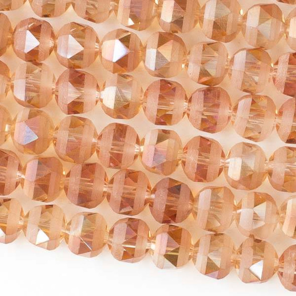Crystal Orbits Matte 8mm Faceted Round Beads Peach AB - Approx. 15.5 inch strand