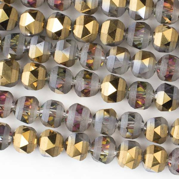 Crystal Orbits Matte 8mm Faceted Round Beads Smoke AB and Gold - Approx. 15.5 inch strand