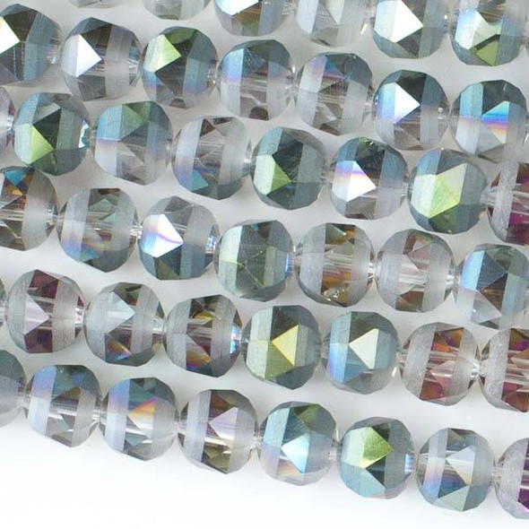 Crystal Orbits Matte 8mm Faceted Round Beads Watermelon Pink and Green -Approx. 15.5 inch strand