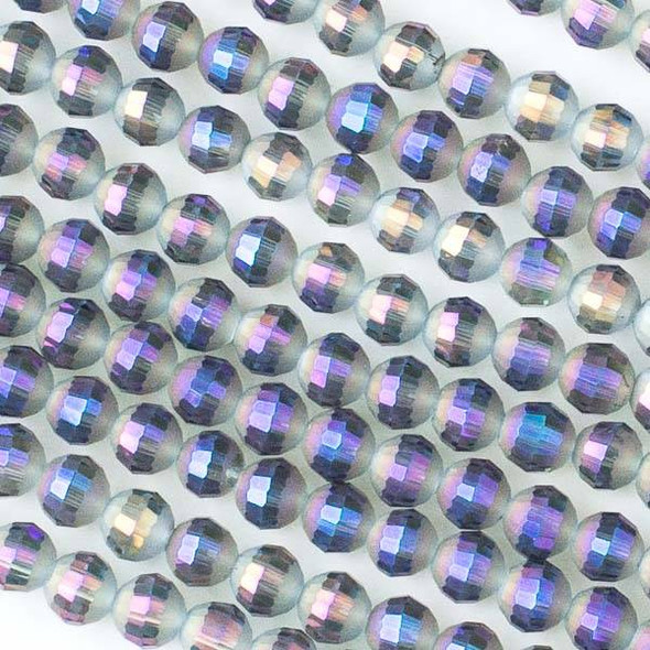 Crystal Orbits Matte 6mm Purple Smoke Round Beads with a Faceted Stripe - Approx. 15.5 inch strand