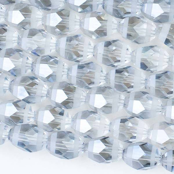 Crystal Orbits Matte and Striped 10x13mm Ice Blue Rice Beads - Approx. 15.5 inch strand