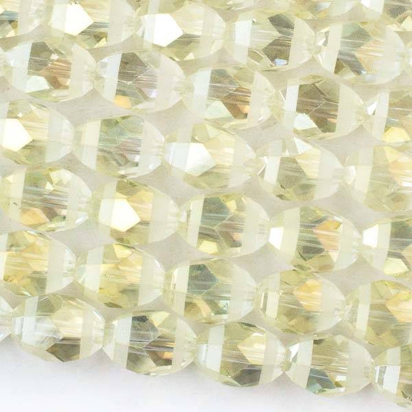 Crystal Orbits Matte and Striped 10x13mm Pale Yellow AB Rice Beads -Approx. 15.5 inch strand