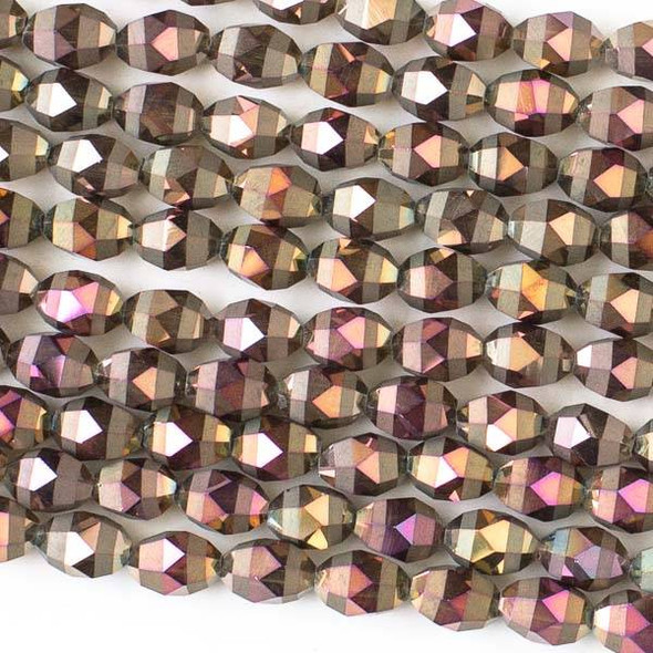 Crystal Orbits Matte and Striped 6x8mm Bronze AB Rice Beads - Approx. 15.5 inch strand
