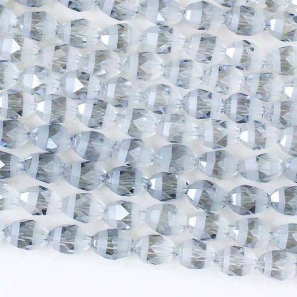 Crystal Orbits Matte and Striped 6x8mm Ice Blue Rice Beads - Approx. 15.5 inch strand