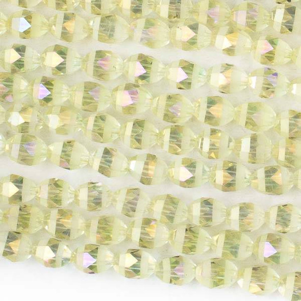 Crystal Orbits Matte and Striped 6x8mm Pale Yellow AB Rice Beads - Approx. 15.5 inch strand