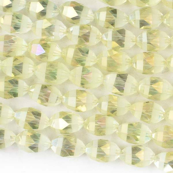 Crystal Orbits Matte and Striped 8x12mm Pale Yellow AB Rice Beads - Approx. 15.5 inch strand