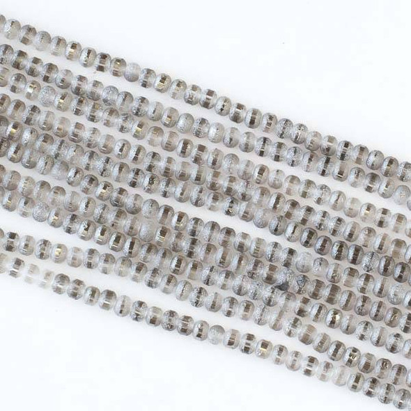 Crystal Orbits Matte and Striped 3mm Black Diamond Rondelle Beads - Approx. 15.5 inch strand