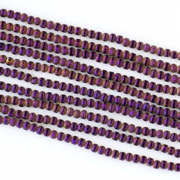 Crystal Orbits Matte and Striped 3mm Purple Rainbow Rondelle Beads - Approx. 15.5 inch strand