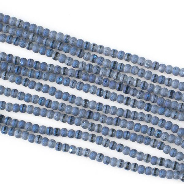 Crystal Orbits Matte and Striped 3mm Deep Blue Sea Rondelle Beads - Approx. 15.5 inch strand