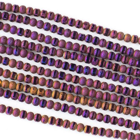 Crystal Orbits Matte and Striped 4mm Purple Rainbow Rondelle Beads - Approx. 15.5 inch strand