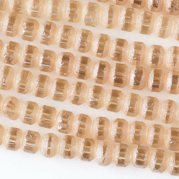 Crystal Orbits Matte and Striped 5x7mm Champagne Rondelle Beads -Approx. 15.5 inch strand