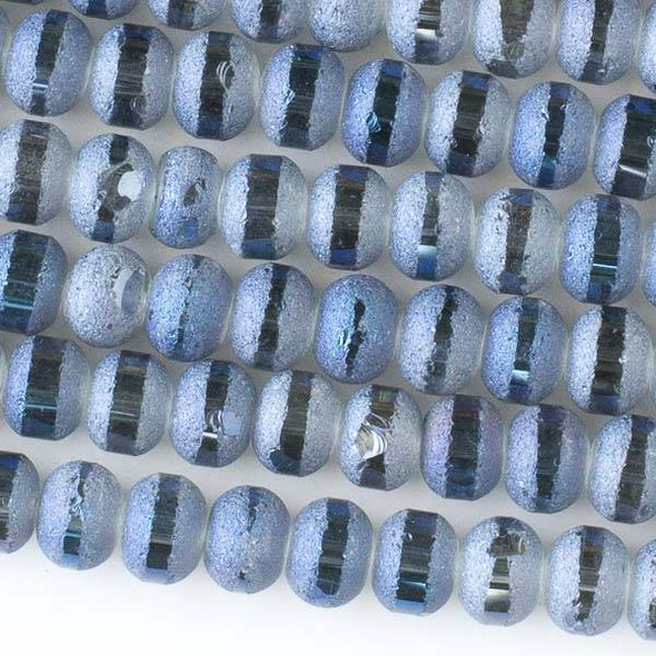 Crystal Orbits Matte and Striped 7x9mm Deep Blue Sea Rondelle Beads - Approx. 15.5 inch strand