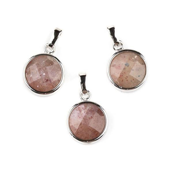 Strawberry Quartz 12mm Faceted Coin Pendant with Silver Plated Bezel and Bail -  1 per bag