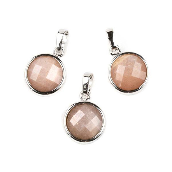 Sunstone 12mm Faceted Coin Pendant with Silver Plated Bezel and Bail -  1 per bag