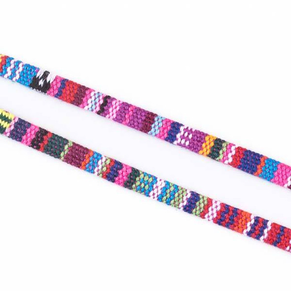 Multicolor Tribal Cord - 5mm Flat, 3 yards #SY07
