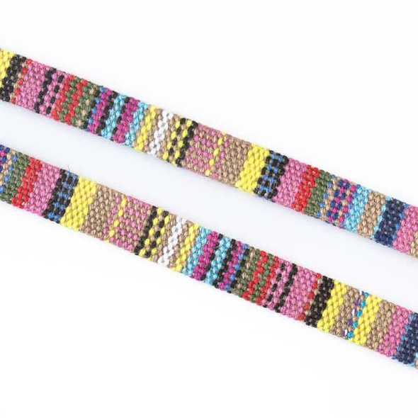 Multicolor Tribal Cord - 7mm Flat, 3 yards #SY11