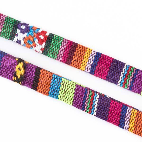 Multicolor Tribal Cord - 10mm Flat, 3 yards #SY13