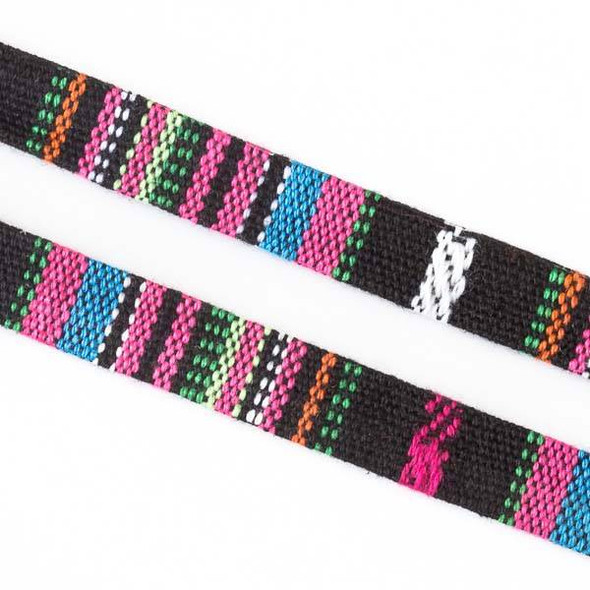 Multicolor Tribal Cord - 10mm Flat, 3 yards #SY14