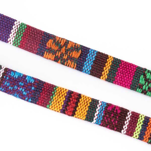 Multicolor Tribal Cord - 10mm Flat, 3 yards #SY15