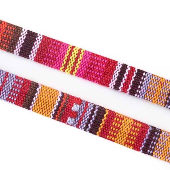 Multicolor Tribal Cord - 10mm Flat, 3 yards #SY16