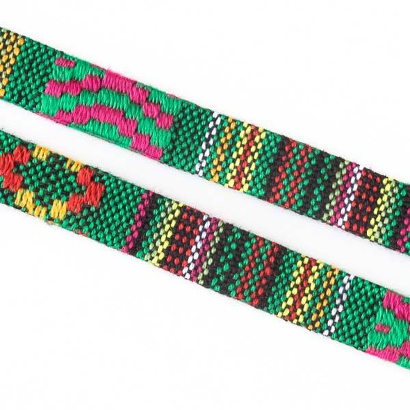 Multicolor Tribal Cord - 10mm Flat, 3 yards #SY18