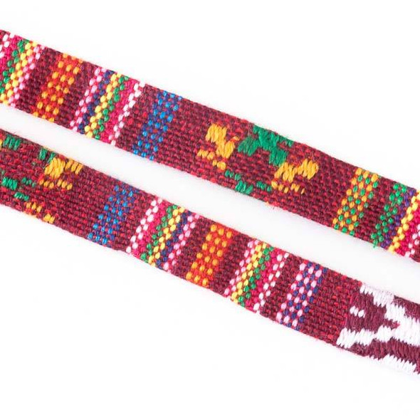 Multicolor Tribal Cord - 10mm Flat, 3 yards #SY19