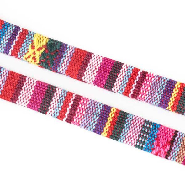 Multicolor Tribal Cord - 10mm Flat, 3 yards #SY20