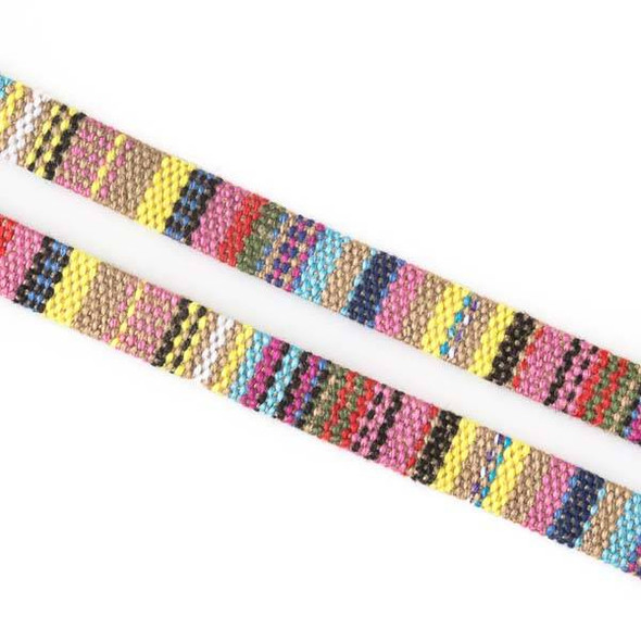 Multicolor Tribal Cord - 10mm Flat, 3 yards #SY21