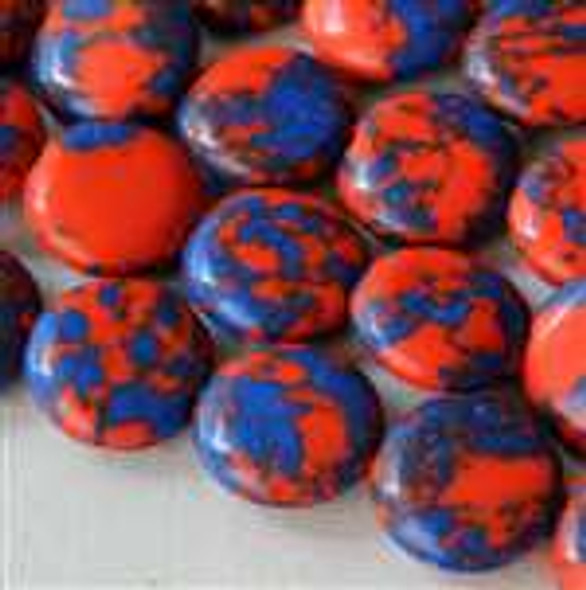 Synthetic Team Color 10mm Blue and Orange Coin Beads - approx. 8 inch strand