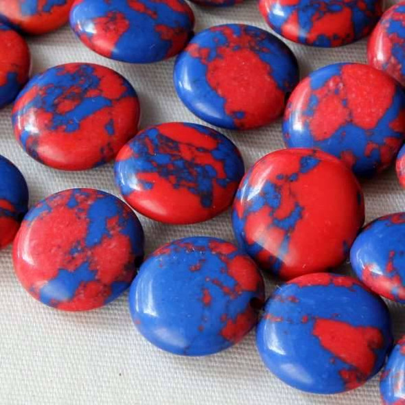 Synthetic Team Color 10mm Blue and Red Coin Beads - approx. 8 inch strand