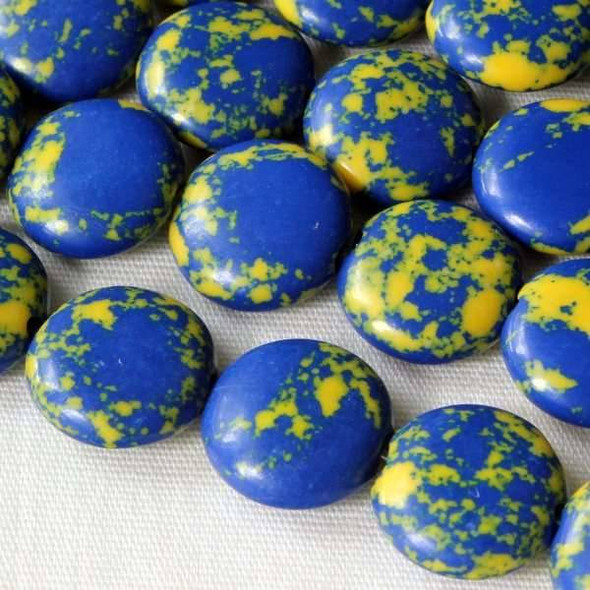 Synthetic Team Color 10mm Blue and Yellow Coin Beads - approx. 8 inch strand