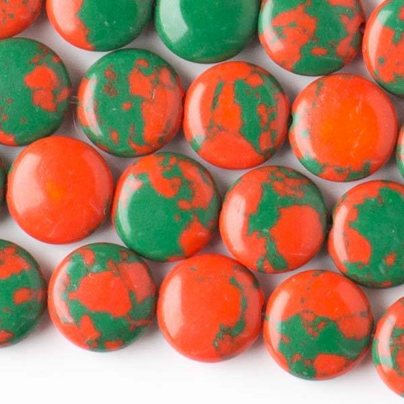 Synthetic Team Color 10mm Green and Orange Coin Beads - approx. 8 inch strand