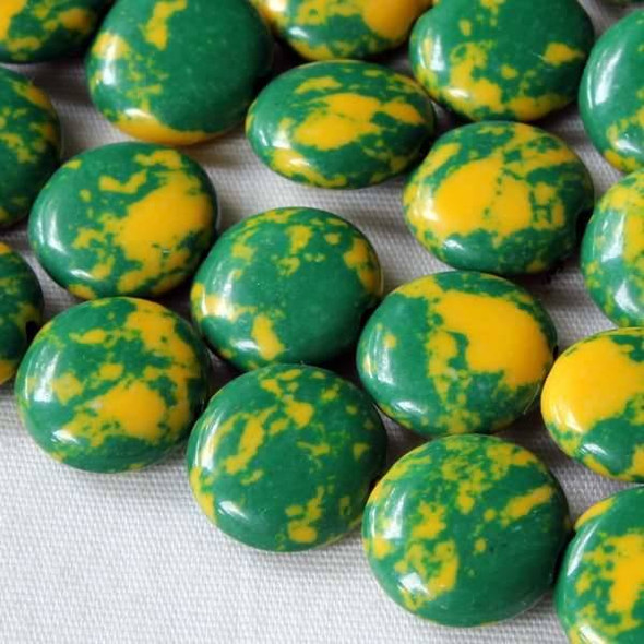 Synthetic Team Color 10mm Green and Yellow Coin Beads - approx. 8 inch strand