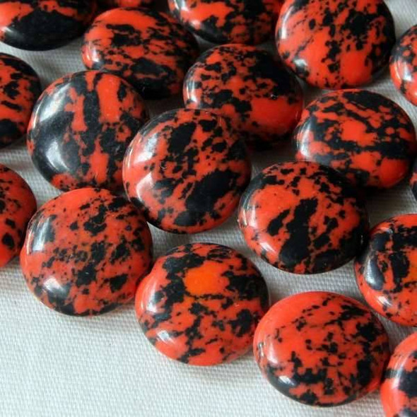 Synthetic Team Color 10mm Orange and Black Coin Beads - approx. 8 inch strand