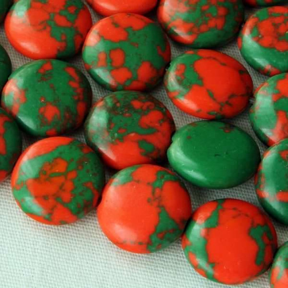 Synthetic Team Color 10mm Orange and Green Coin Beads - approx. 8 inch strand