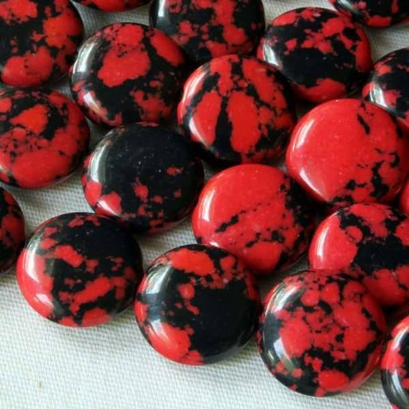 Synthetic Team Color 10mm Red and Black Coin Beads - approx. 8 inch strand