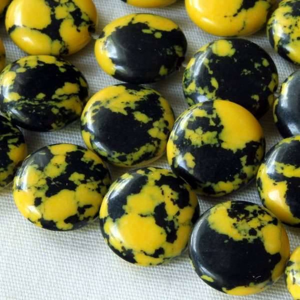 Synthetic Team Color 10mm Yellow and Black Coin Beads - approx. 8 inch strand