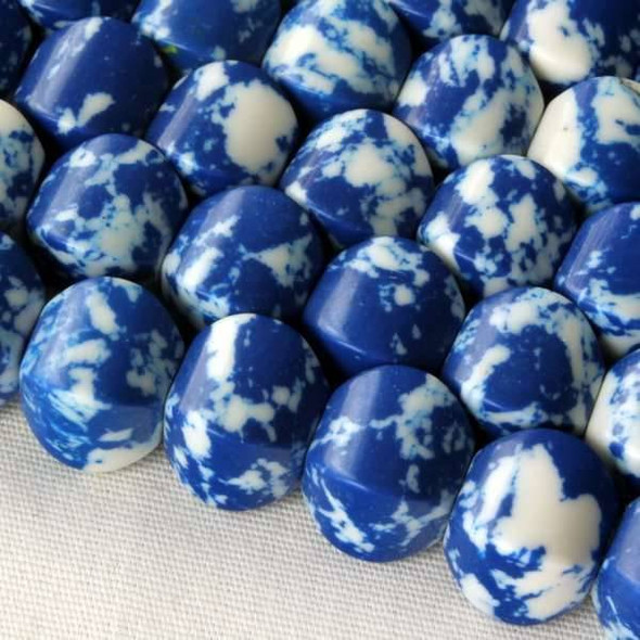 Synthetic Team Color 8mm Blue and White Cushion Beads - approx. 8 inch strand